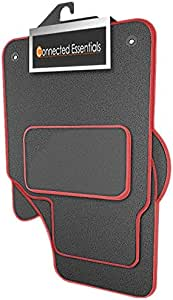 Premium Grey with Red Trim for Caddy Round Clips 2004- Connected Essentials 5034093 Tailored Heavy Duty Custom Fit Car Mats