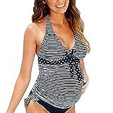 Hibote Schwangerschafts-Badeanzug Damen Bikini Set zweiteilig Schwimmanzug Tankini Bademode Strand Bikini Oberteile + Höschen XL