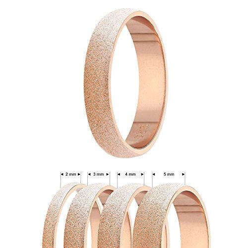 Ring - 925 Silber - 4 Breiten - Diamant - Rosegold [09.] - Breite: 2mm - Ringgröße: 57