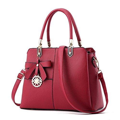Auspicious beginning Irregular Color Spleißen mit Bowknot Dekorationen Handtasche für Frauen Weinrot