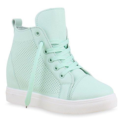 Keilabsatz Sneakers Damen Top Schuhe wedges Türkis Sneaker High qqXPaE