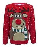 Fashion Essentials-Frauen Unisex Rudolph Print 3d Nose Pom Pom Weihnachtspullover (S, ROTE)