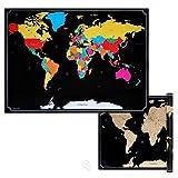 Navaris Mappa Mondo da Grattare - Carta Planisfero Grande da Parete 82x59cm Mappamondo Scratch Off Carta geografica World Map - nero