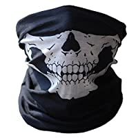 Flybuild® Skull Tube Protective Dust Mask Bandana Motorcycle Polyester Scarf Face Neck Warmer for Snowboard Skiing Motorcycle Biking (Black)
