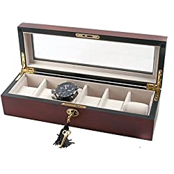 Fine Cherry Matt Wooden Storage Watch Box For 6 Watches