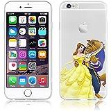 Disney PRINCESS transparente in poliuretano termoplastico per iPhone-Cover per Apple iPhone 5, 5S, 5C,6/6S,6+,iphone7 plastica,(iphone 6/6s, Beauty & Beast)