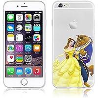 Disney PRINCESS transparente in poliuretano termoplastico per iPhone-Cover ; Minions ; Winnie ; cartoon, trasparente in poliuretano termoplastico per iPhone-Cover per Apple iPhone 5, 5S, 5C, 6/6S , 6PLUS , iphone7 plastica, (iphone 6/6s, Beauty & Beast)