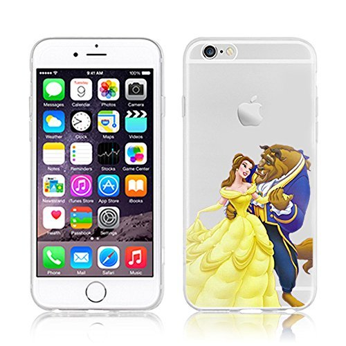 Disney PRINCESS trasparente in poliuretano termoplastico per iPhone-Cover per Apple iPhone 5, 5S, 5C, 6/6S plastica, (iphone 6/6s, Beauty & Beast)