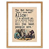 Wee Blue Coo Quote Carroll Book Alice Wonderland Mad Hatter Tea Party Framed Wall Art Print