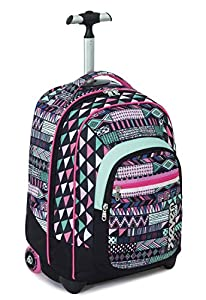 TROLLEY FIT - SEVEN - ETHNIC - 2in1 Wheeled Backpack with Disappearing Shoulder Straps - Pink Black 35Lt from Seven