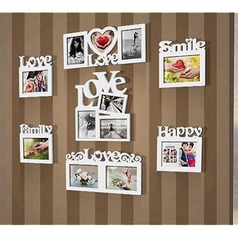 QIANAmo la combinazione cornice creativo ornamenti famiglie coppie bambini foto muro bianco in legno foto frame set