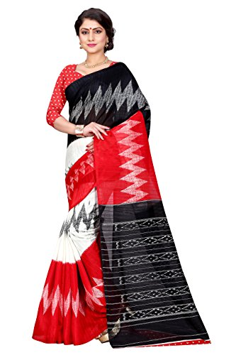 Sugathari Sarees Women\'s Red and Black Mysore Bhagalpuri Art Silk Saree