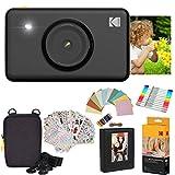 KODAK: Paquete de Regalo de cámara instantánea Mini (Negro) + Papel (20 Hojas) + Funda 7 Juegos de Pegatinas Divertidas + rotuladores de Doble Punta + álbum de Fotos + Marcos para Colgar.