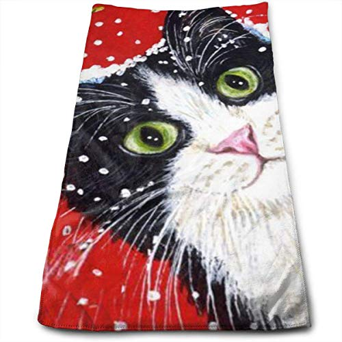 BBABYY Hand Towels Covered with Snow Cat Face Towels Highly Absorbent Towels for Face Gym and Spa 12 X 27.5 Inch/30cm X 70cm
