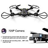 Eloka Drone With Camera 2.4G Barometer Height Hold Foldable RC Quadcopter, Mobile APP Control, Wifi FPV Real-Time Selfie Drone With 2MP 720P Wide Angle HD Camera for Kids, Adults and Beginners, Black