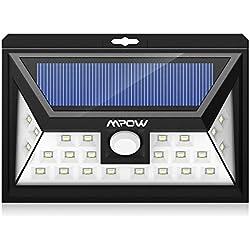 Mpow 24 LED Foco Solar con Sensor de Angulo Ancho, Focos LED Exterior Protección Ambiental y Ahorra de Energía. Luz Solar Impermeable al Aire Libre con 3 Modos de Luces Inteligentes para Jardín Exterior Casa Camino Escaleras Pared. Solar Luz Jardin-1 Unidad