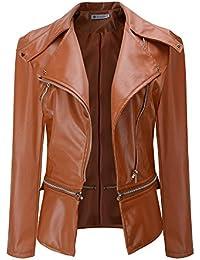 VRTUR Damen Winter Warm Jacke Parka Frau Faux Kragen Kurz Mantel Leder  Mantel Outwear 24fb9f869e