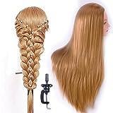 Trainingsköpfe für Friseure Übungskopf Friseurkopf Friseursalon Puppenkopf Schminkkopf Friseur Mannequin kopf 100% Synthetisches Haar Mit Halter (ESC27P- Blond)