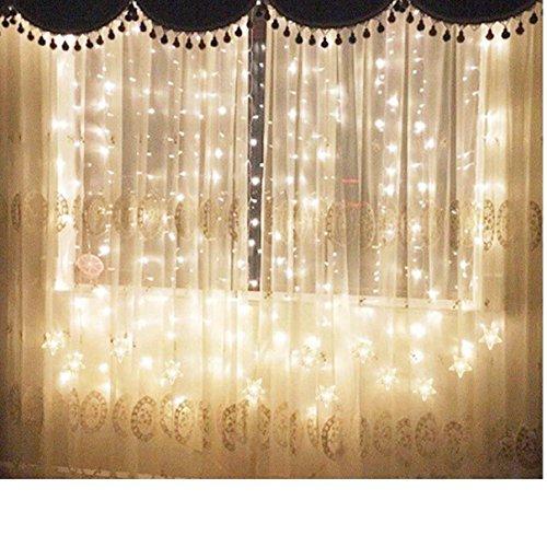 TOFU Lichtervorhang Sterne, Led Lichterkette fenster mit EU-Stecker, warmweiße Weihnachtsdeko für Vorhang, Weihnachten, Halloween, Hochzeit, Clubs, Kinderzimmer, zu Hause, Deko Party Innen/Außen - 5