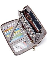 Geldbörse Damen Leder Gross Frauen Clutch Portemonnaie Groß Geldbeutel Lang Portmonee mit 15 Kartenfächer