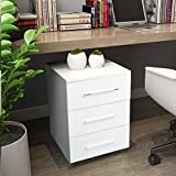 3 Drawer File Cabinet Steel Metal Filing Pedestal Cabinet with Curved Handles Matt White,LIFE CARVER