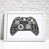 Personalised Xbox Contoller Gaming Word Art Print - A5, A4 Prints & Framed