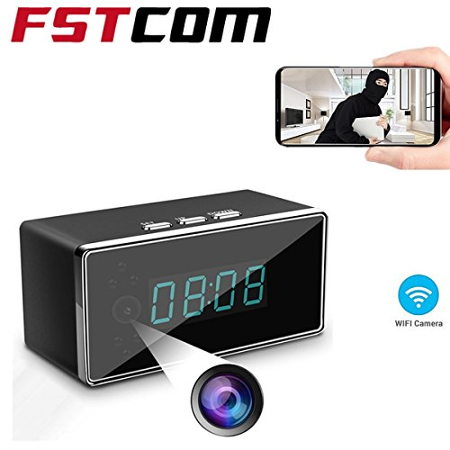 FSTCOM HD Wifi Hidden Spy Camera Clock-Night Vision, Motion Detection, Loop Recording, APP, Home Surveillance Security Cam