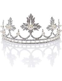 Remedios Maple Leaf temáticas boda Rhinestone Corona nupcial Celada desfile Princesa Tiara diadema con Perla