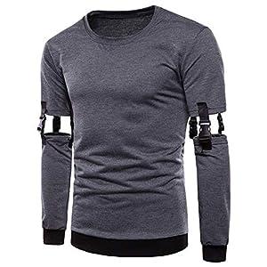 JUSTSELL Langarmshirts T Shirt Herren Sommer Herbst, Männer Einfarbig Pullover Rundhalsausschnitt Bluse Abnehmbare Ärmel Oberteile Casual Tops