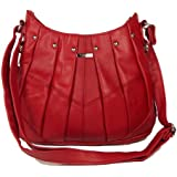 Red Genuine Real Leather Ladies Medium Handbag Long Strap, Cross the Body, Messenger Bag.