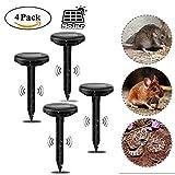 CLDGF 4 Pack Solar Mole Antrieb Ultraschall Solarladung Garten Rasen Stick Ratte Snake Drive Wildschwein Tierantrieb