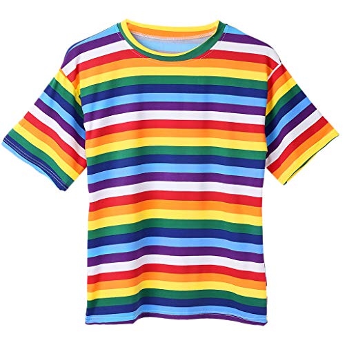 Women Girls Plus Size Half Sleeves Harajuku T-Shirt Rainbow Contrast Colored Cross Stripes Printed Blouse Oversized Loose Pullover Tops M-2XL -