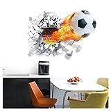 Grandaro W5180 Wandtattoo brennender Fußball I 70 x 50 cm I Kinderzimmer Jugendzimmer Stadion Ball Fussball Aufkleber Wandaufkleber Wandsticker