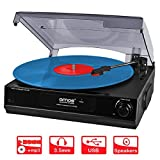 AMOS USB Turntable 3 Speed Vinyl Record Retro LP Player Recorder Vinyl to MP3 Digital Converter with Stereo Speakers & RCA Output + Audacity Software (Black)