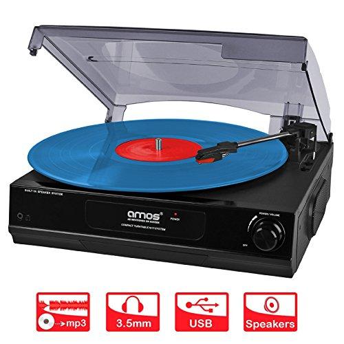 AMOS USB Giradischi 3 Velocità Disco Vinile Retro LP Lettore Registratore Vinile a MP3 Convertitore Digitale con Altoparlanti Stereo e Uscita RCA + Audacity Software