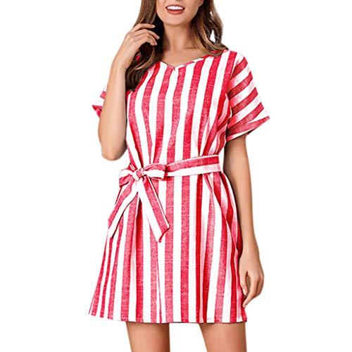 LSAltd Art- und Weisefrauen-Sommer-klassisches gestreiftes Bowknot schnüren Sich Oben Partei-A-Linie Kleid-Damen-reizendes kurzes Hülsen-tägliches Minikleid -