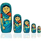 Fine Craft India Set Of 5 Pieces Hand Painted Cute Wooden Indian Matryoshka Stacking Nested Wood Turquoise Dolls