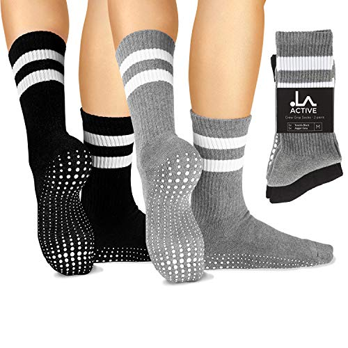 LA Active Grip Socken - 2 Paar - Yoga Pilates Barre Ballet Abs Noppen Rutschfeste Krankenhaus - Crew (Schwarz und Grau)