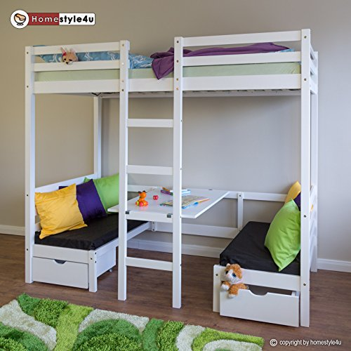 Homestyle4u Kinderbett Hochbett Funktionsbett Jugendbett 90x200 weiß Schreibtisch Etagenbett
