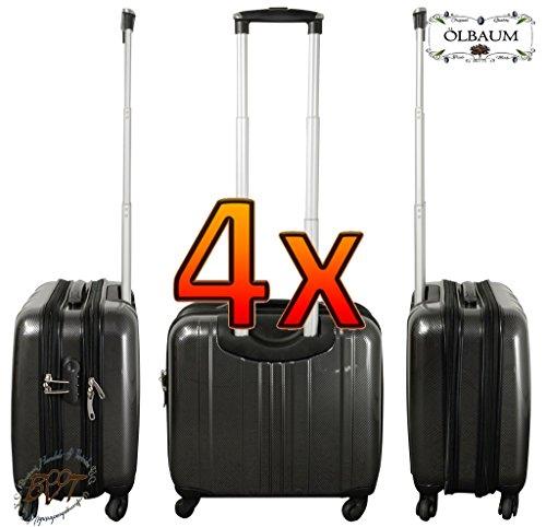 Koffer-Familien SET, je 2x Reisekoffer schwarz + silber, Reisetasche, Pilotenkoffer-Setangebot Flugkoffer/ Flugreise Zubehör Piloten-Trolley /-koffer, Daypack,...