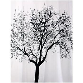 bisk rideau de douche blanc motif arbre vert 180 x 200 cm. Black Bedroom Furniture Sets. Home Design Ideas