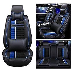 Tuqiang Leder Autositzbezüge Kissen Voller Satz Von 5 Sitzen für XF XE Vorderseite und Rückseite Auto Sitzkissen (Schwarz und Blau)