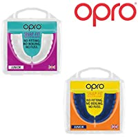 Opro Twin Pack Kids Snap Fit Mouth Guard Gum Shield for Rugby, Hockey, MMA, Boxing (Blue + White colours)