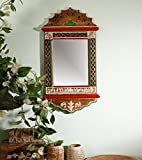 Unravel India Warli Painted Wooden Wall Mirror