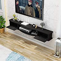 H.aetn Wall Floating TV Stand Cabinet,Multi-function Storage Rack, Wall Mounted Entertainment Unit,white/black