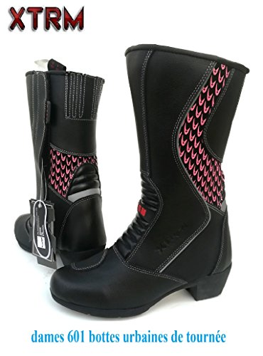 New Ladies XTRM 601 Touring Boots | Motorcycle Scooter Cruiser Moped Urban Racing Sports Leather Women Long Ankle Heel Boots Black Pink - Black - UK 4 / EU 38