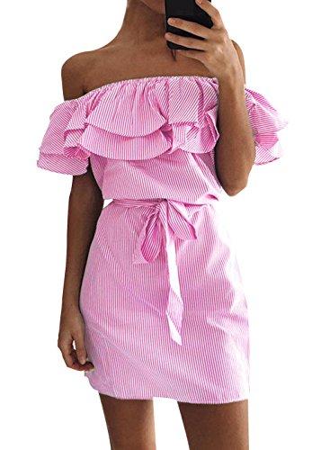 Abiti Vestiti da Sposa in Striscione Casual da Donna senza spalline Donne Estate Boho Dress Donna
