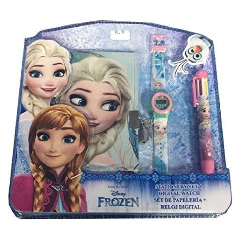 Disney frozen wd17598 set diario segreto, orologio digitale, penna multicolore, bambina, anna, elsa