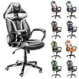 Diablo X-Gamer Gaming Stuhl, Racer, Bürostuhl, Drehstuhl mit Armlehnen, Chefsessel, Sportsitz, Bezug aus Kunstleder, Farbwahl (schwarz-weiß)