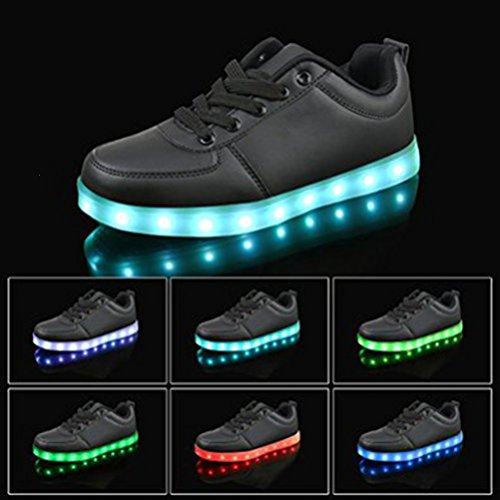 [Présents:petite serviette]JUNGLEST 7 Couleur Unisexe Homme Femme USB Charge LED Lumière Lumineux Clignotants Chaussure Black